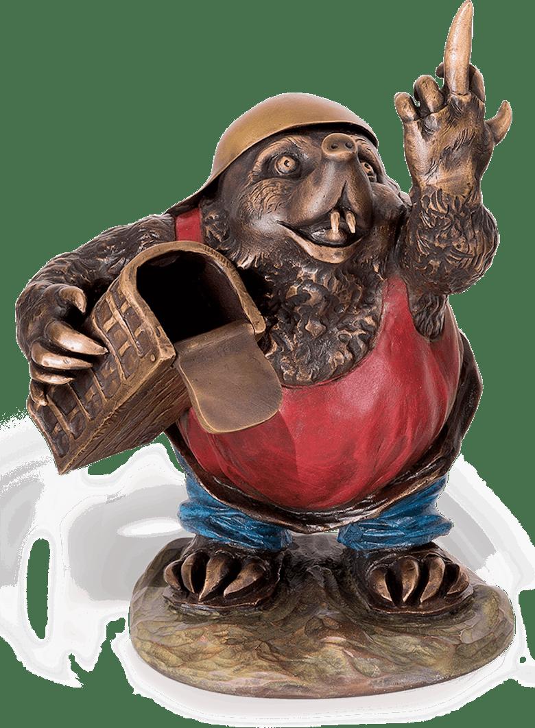 """Bronzefigur Maulwurf """"Stinkefinger"""" von Atelier Strassacker"""