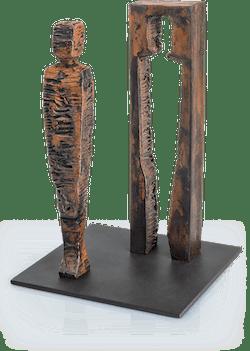 Bronzeskulptur-Kubus-Mann