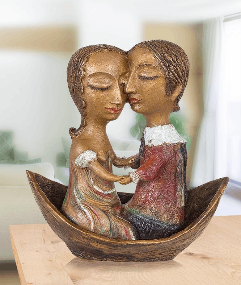 Bronzefigur Liebende in Gondel von Elya Yalonetski