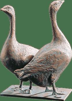 Bronzefigur Zwei Gänse von Hans Nübold