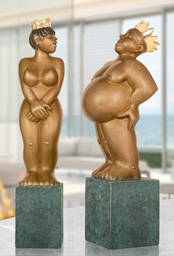 Bronzefigur Königin und König im Set von Stefan Donhauser
