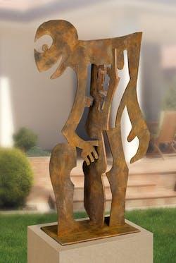 Bronzefigur Mensch mit Mensch von Guido Häfner