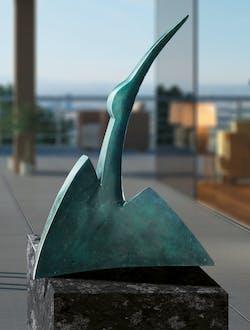 Bronzefigur Hinauf von Monika Wex