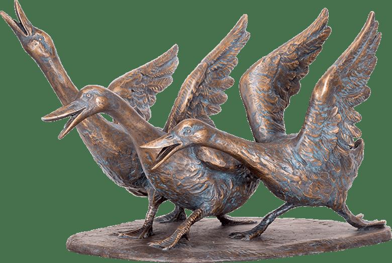 Bronzefigur Gänsegruppe von Atelier Strassacker