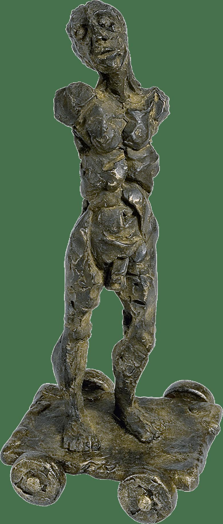 Bronzefigur Mann mit Wagen von Manuel Donato Diez