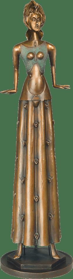 Bronzefigur Tänzerin im Blumenkleid von Paul Wunderlich