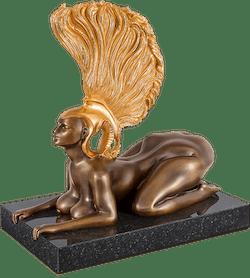 Bronzefigur Sphinx mit Goldhelm von Ernst Fuchs