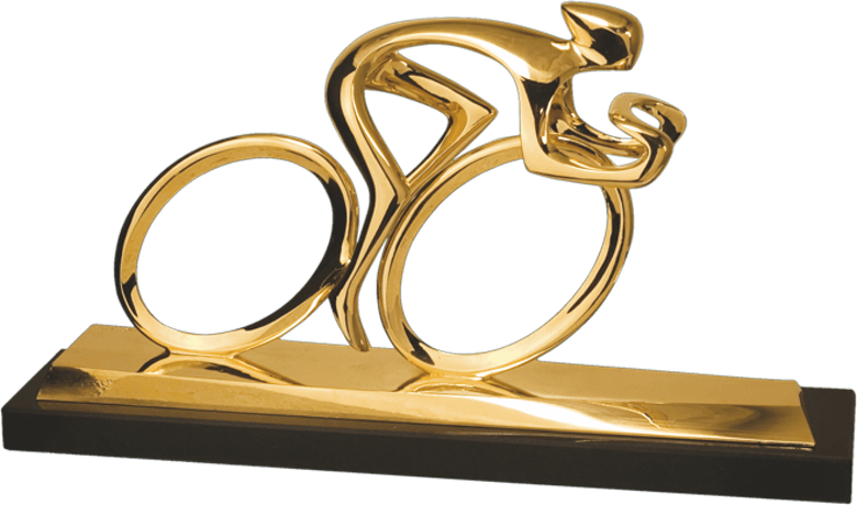 Bronzefigur Radler, vergoldet von Torsten Mücke