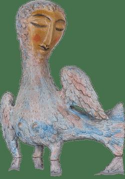 Bronzefigur Taubendame von Elya Yalonetski