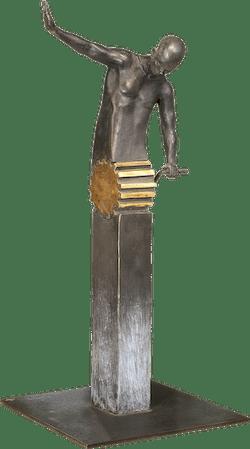 Bronzefigur Figur mit Zahnrad von Annie Jungers