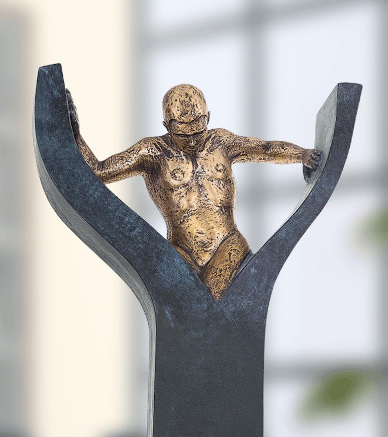 Bronzefigur La force est en toi von Annie Jungers