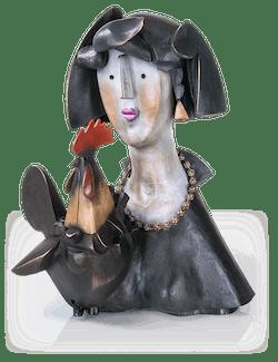 Bronzefigur Floo e il gallo von Rinaldo Bigi