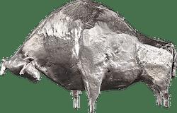 Bronzefigur Stier, silber von Hermann Schwahn
