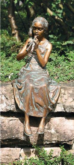 Bronzefigur Mädchen mit Flöte von Pawel Andryszewski
