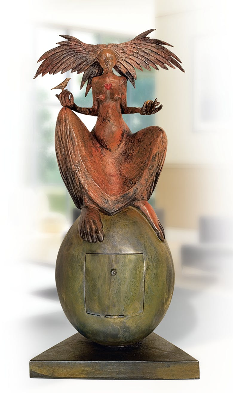 Bronzefigur The great egg von Fidelma Massey