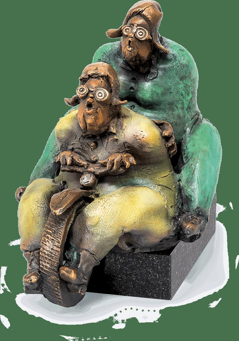 Bronzefigur Ausflug mit Harley von Eva Roucka