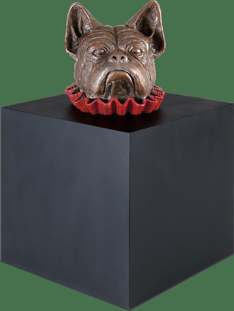 Bronzefigur Hund im Würfel von Guido Messer