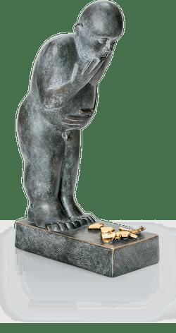 Bronzefigur Malheur von Stefan Donhauser