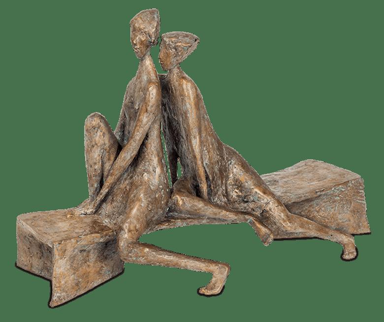 Bronzefigur Interessierte Betrachter von Manfred Welzel