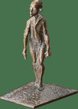 Bronzefigur Mann auf Platte, schreitend von Woytek