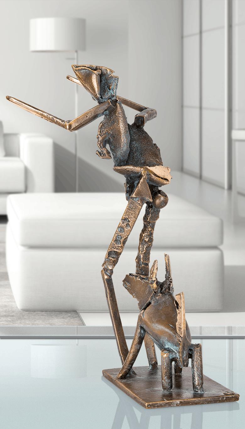 Bronzeskulptur-Mann-mit-Hund