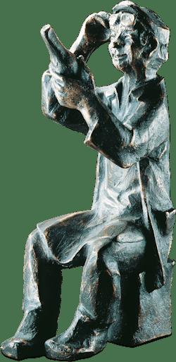Bronzefigur Etikettenleser von Theophil Steinbrenner
