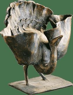 Bronzefigur Balzender Vogel von Gotthelf Schlotter