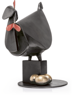 Bronzefigur Gallina Nera fa le uova verso