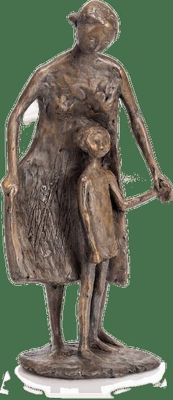 Bronzefigur Kind führende Frau von Manfred Welzel