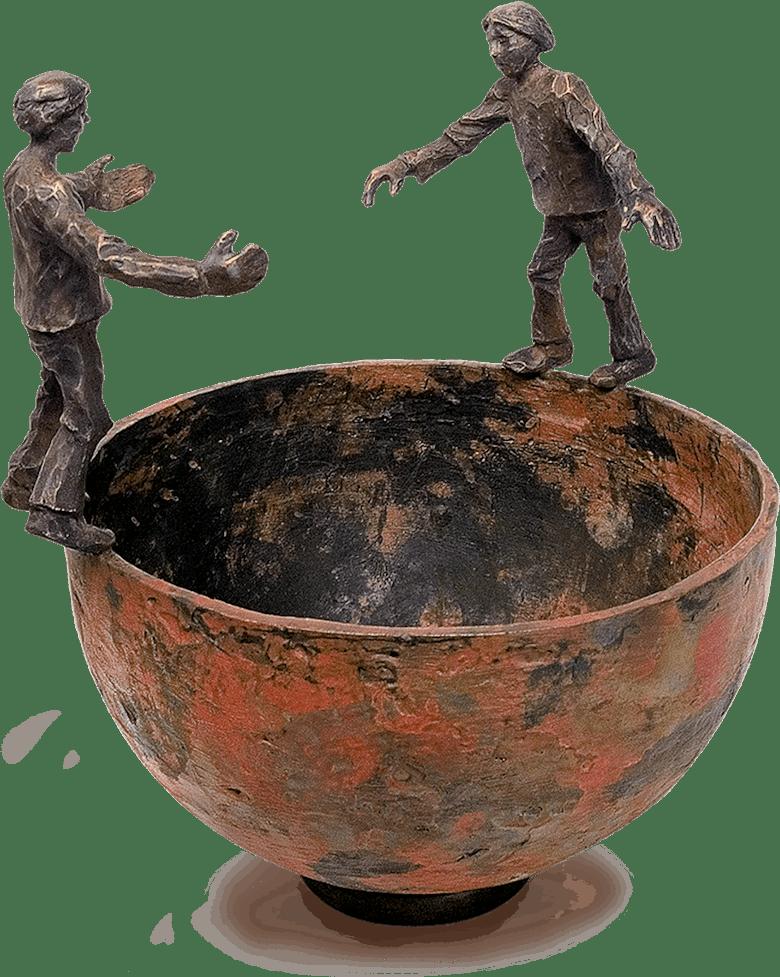 Bronzefigur Interaktion von Uwe Bürkle