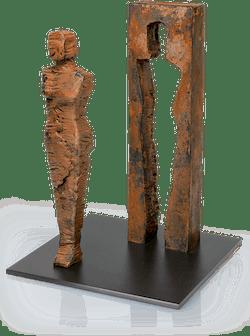 Bronzeskulptur-Kubus-Frau