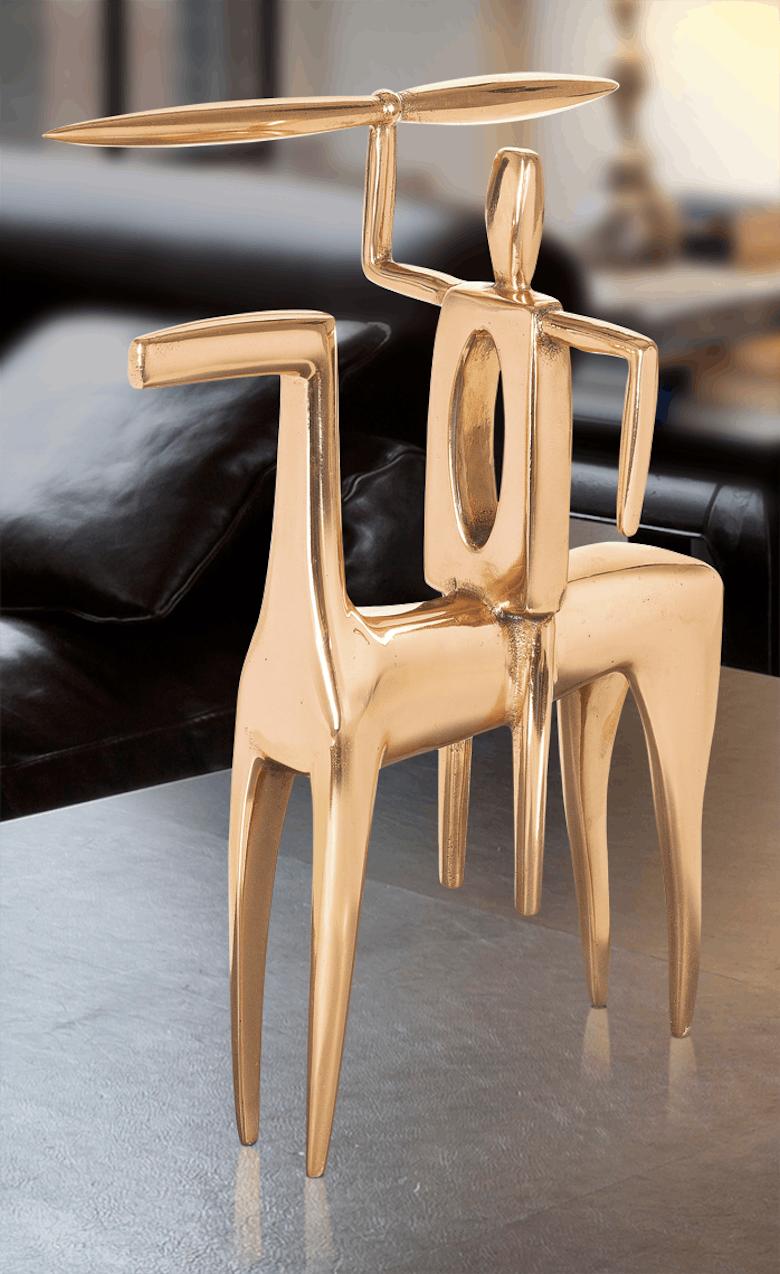 Bronzefigur Pferd mit Reiter von Tobias Eder