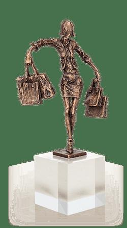 Bronzeskulptur-Balance-Einkäuferin