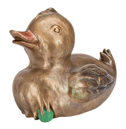 Bronzeente auf Erbse