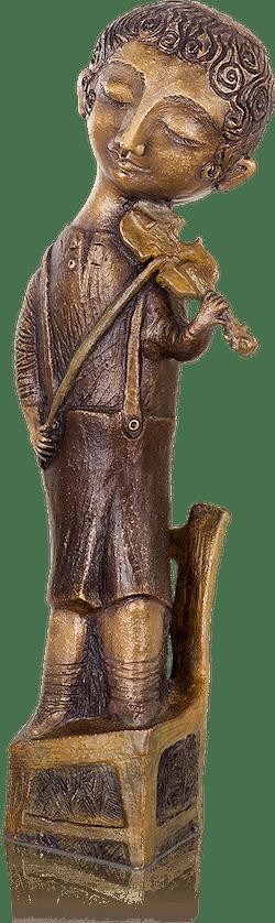 Bronzefigur Geiger auf Stuhl von Elya Yalonetski
