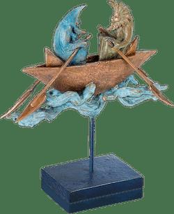 Bronzefigur Sun & Moon boating von Fidelma Massey