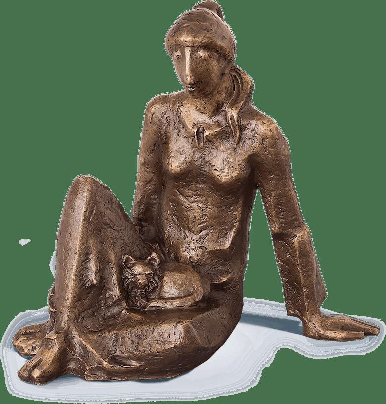 Bronzefigur Die Katzenfreundin von Hans Huschka