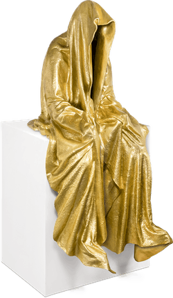 Bronzefigur Kantenhocker (golden) von Manfred Kielnhofer