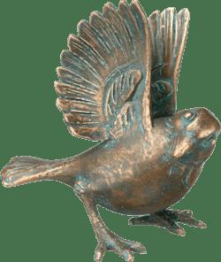 Bronzefigur Spatz, landend von Atelier Strassacker