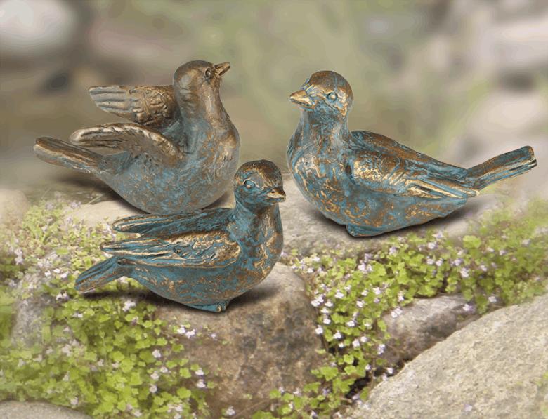 Bronzefigur 3 Spatzen als Set von Atelier Strassacker