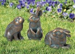 Bronzefigur 3er-Set Kaninchen von Atelier Strassacker