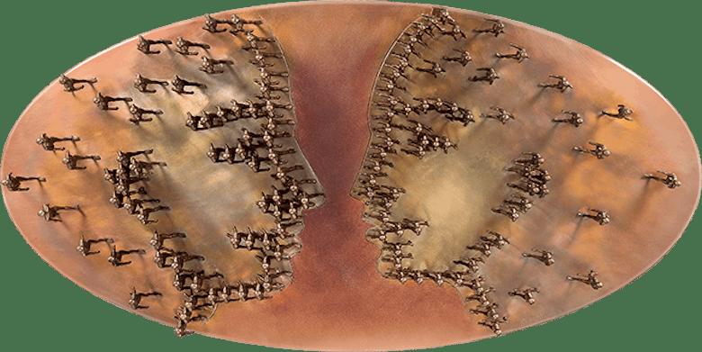 Bronzefigur Gendered Dialogue von Trpák