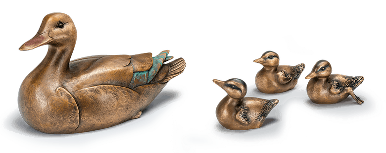 Bronzeskulptur Ente mit Küken - Set