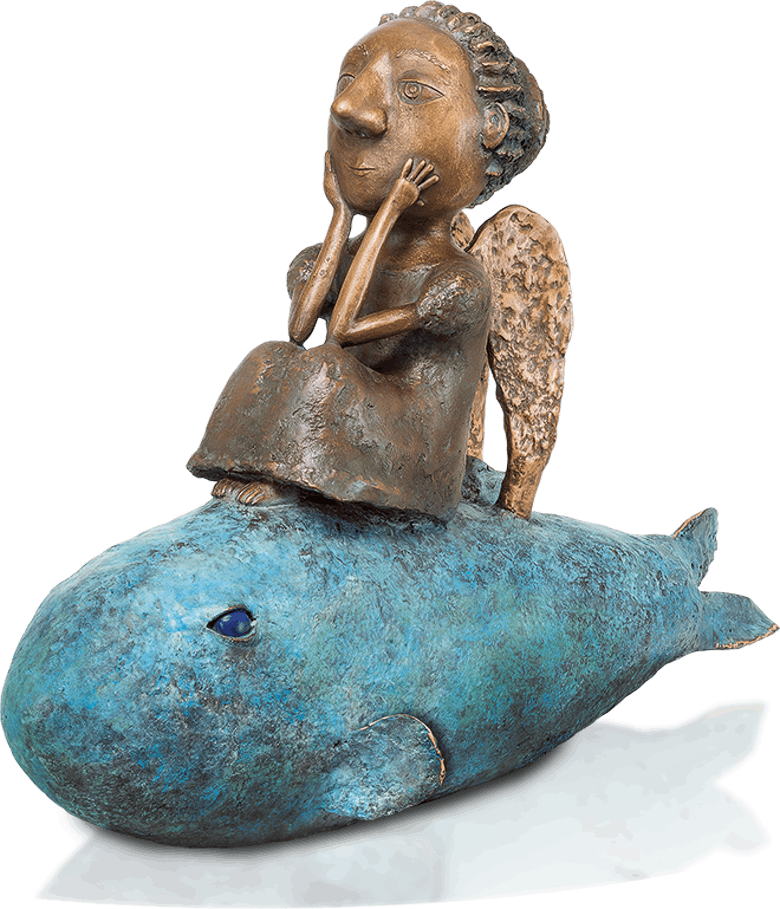 Bronzefigur Girl on a fish von Natalia Obada