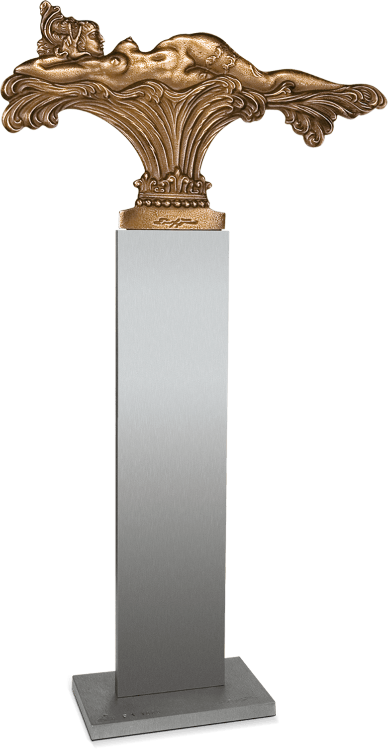 Bronzefigur Liegende Versuchung, Tischvariante von Ernst Fuchs