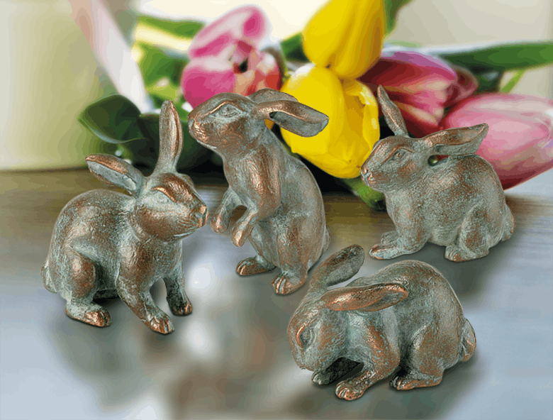 Bronzefigur 4 Hasen als Set von Atelier Strassacker