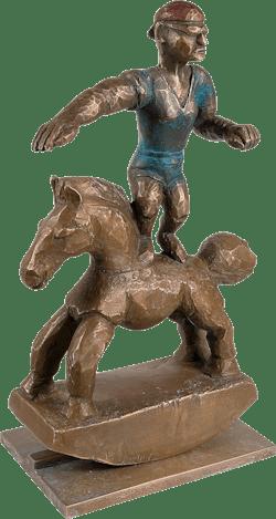 Bronzefigur Die Beherrschung des Schaukelpferds von Johannes Walter