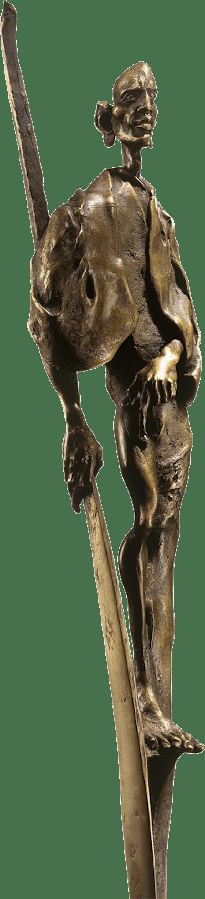 Bronzefigur Massai-Krieger von Woytek