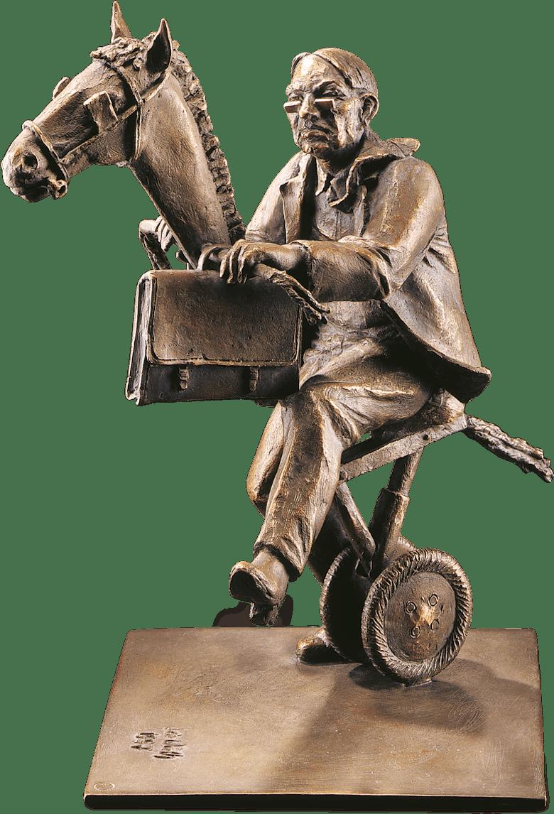 Bronzefigur Der wild gewordene Amtsschimmel von Leo Wirth