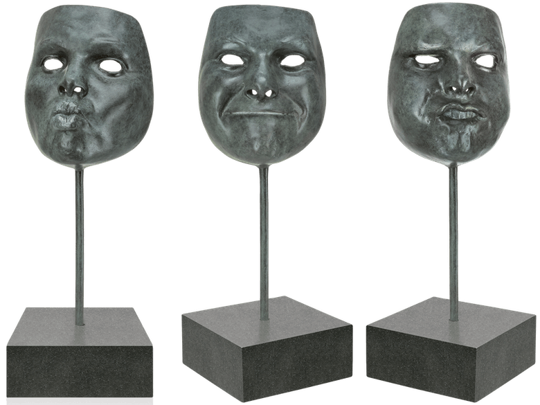 Bronzefigur 3 Masken im Set von Veronika Psotková